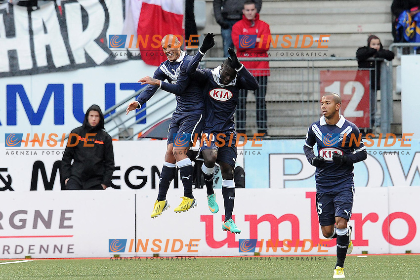joie de Henri Saivet apres son but - Yoan Gouffran (Bordeaux) .Football Calcio 2012/2013.Ligue 1 Francia.Foto Panoramic / Insidefoto .ITALY ONLY