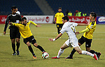 Palestinian players of Shabab Hebron and Players of Lebanese al-Ahed FC compete during their a second leg match of Arab championship for clubs at Amman international stadium, in Amman, Jordan, on January 12, 2017. Photo by Wisam Hashlamoun