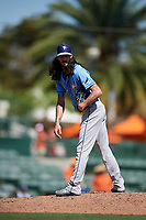 Tampa Bay Rays relief pitcher Hunter Wood (44) during a Grapefruit League Spring Training game against the Baltimore Orioles on March 1, 2019 at Ed Smith Stadium in Sarasota, Florida.  Rays defeated the Orioles 10-5.  (Mike Janes/Four Seam Images)