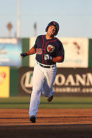 Bryan Muniz (25) of the Lancaster JetHawks runs the bases during a game against the San Jose Giants during the second game of a doubleheader at The Hanger on July 14, 2016 in Lancaster, California. Lancaster defeated San Jose, 3-0. (Larry Goren/Four Seam Images)