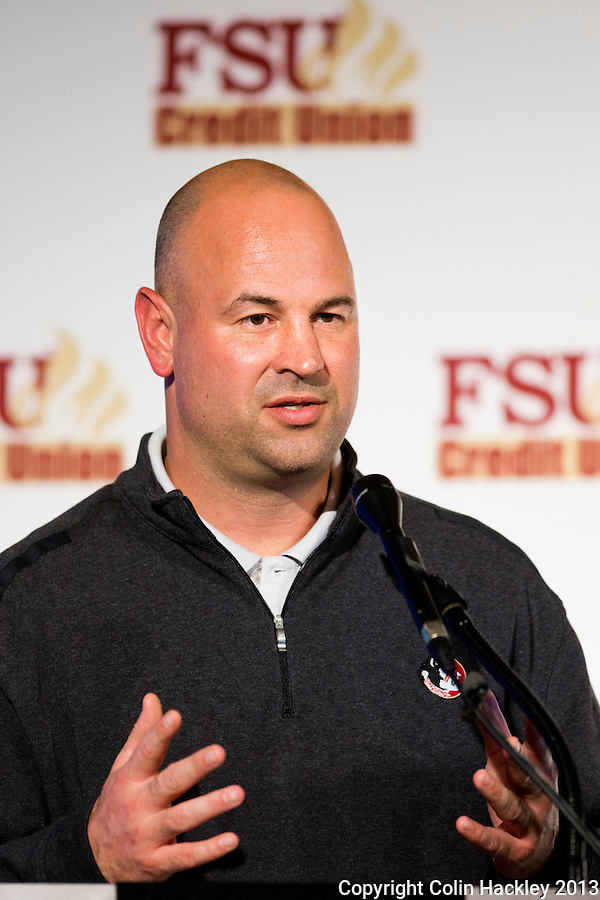 TALLAHASSEE, FLA. 2/6/13-FSUSIGNDAY020613 CH-Florida State University Defensive Coordinator Jeremy Pruitt talks about the 2013 recruiting class during the national signing day War Party, Feb. 6, 2013 in Tallahassee..COLIN HACKLEY PHOTO