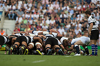 Twickenham, England, 27th May 2018. Quilter Cup, Rugby,  Englands, Substitute scrum half , Dan ROBINSON, &quot;put's&quot; the ball into the scrum&quot; during the  England vs Barbarians, rugby match at the RFU. Stadium, Twickenham. UK.  <br /> <br /> &copy; Peter Spurrier/Alamy Live News