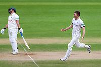 Picture by Alex Whitehead/SWpix.com - 22/04/2018 - Cricket - Specsavers County Championship Div One - Yorkshire v Nottinghamshire, Day 3 - Emerald Headingley Stadium, Leeds, England - Yorkshire's Ben Coad celebrates the wicket of Notts' Steven Mullaney.