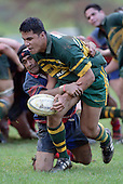 P. Halia is taken by K. Kaino. Counties Manukau Premier Club Rugby, Pukekohe v Ardmore Marist played at the Colin Lawrie field, on the 27th of May 2006.Ardmore Marist won 22 - 6