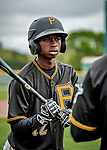 5 March 2019: Pittsburgh Pirates minor league Position Player Victor Ngoepe awaits his turn in the batting cage at Pirate City in Bradenton, Florida. Mandatory Credit: Ed Wolfstein Photo *** RAW (NEF) Image File Available ***