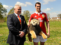 London, England.  Sam Warburton (R) The British and Irish Lions Captain with Warren Gatland the British and Irish Lions Head Coach during the 2013 British and Irish Lions tour squad and captain announcement at London Syon Park Hotel on April 30, 2013 in London, England.