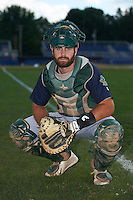 Vermont Lake Monsters catcher Nick Collins (20) poses for a photo before the first game of a doubleheader against the Batavia Muckdogs August 11, 2015 at Dwyer Stadium in Batavia, New York.  Batavia defeated Vermont 6-0.  (Mike Janes/Four Seam Images)