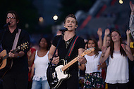 "Washington, DC - July 3, 2015: Grammy Award nominee Hunter Hays performs ""21"" at the dress rehearsal for the 35th annual ""A Capitol Fourth"" concert on the west lawn of the U.S. Capitol building July 3, 2015. Hunter has toured with Taylor Swift and Carrie Underwood and has won ""New artist of The Year"" at the Country Music Awards.  (Photo by Don Baxter/Media Images International)"