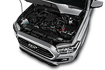 Car stock 2018 Toyota Tacoma SR5 Access Cab 4 Door Pick Up engine high angle detail view
