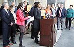WATERBURY CT. 16 March 2018-031919SV10-Rep. Jahana Hayes, D-5th District, held a press conference with Sen. Richard Blumenthal, D-Conn and Rep. Rosa L. DeLauro, D-3rd District, to announce a bill she proposed to Prevent federal funding from being used to arm teachers in schools at Kennedy High in Waterbury Tuesday.<br /> Steven Valenti Republican-American