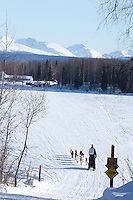 Jeremiah Klejka on Willow lake heads towards the finish of the Jr. Iditarod   Willow, Alaska