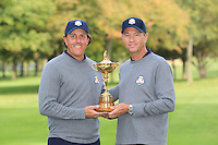 Phil Mickelson and David Love III at The USA Team Picture for the Ryder Cup 2012, Medinah Country Club,Medinah, Illinois,USA.Picture: Fran Caffrey/www.Golffile.ie.