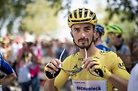 yellow jersey / GC leader Julian Alaphilippe (FRA/Deceuninck - QuickStep) at the race start at the Pont du Gard<br /> <br /> Stage 17: Pont du Gard to Gap(206km)<br /> 106th Tour de France 2019 (2.UWT)<br /> <br /> ©kramon