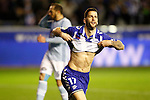 Deportivo Alaves' Edgar Mendez celebrates goal in presence of Celta de Vigo's Marcelo Diaz dejected during Spanish Kings Cup semifinal 2nd leg match. February 08,2017. (ALTERPHOTOS/Acero)