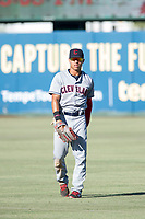 AZL Indians left fielder Tre Gantt (1) warms up between innings during a game against the AZL Angels on August 7, 2017 at Tempe Diablo Stadium in Tempe, Arizona. AZL Indians defeated the AZL Angels 5-3. (Zachary Lucy/Four Seam Images)