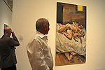 """Visitors admire a work by painter Lucian Freud in the recently unveiled Modern Wing of the Art Institute Chicago, designed by architect Renzo Piano on the first """"free Tuesday"""" where admission costs nothing and is open to the public, in Chicago, Illinois on May 19, 2009."""