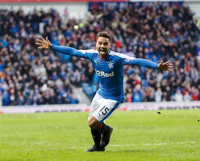 Harry Forrester celebrates his goal for Rangers