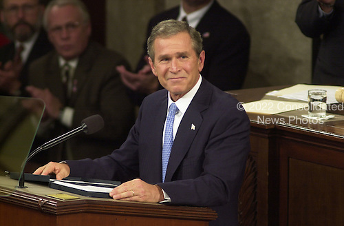 Washington, DC - September 20, 2001 --  U.S. President George W. Bush speaks before a Joint Session of the U.S. Congress to detail his plans to combat terrorism following the World Trade Center and Pentagon terrorist attacks.
