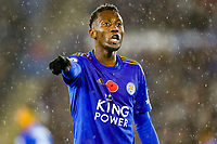 9th November 2019; King Power Stadium, Leicester, Midlands, England; English Premier League Football, Leicester City versus Arsenal; Wilfred Ndidi of Leicester City - Strictly Editorial Use Only. No use with unauthorized audio, video, data, fixture lists, club/league logos or 'live' services. Online in-match use limited to 120 images, no video emulation. No use in betting, games or single club/league/player publications