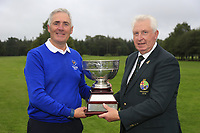 GUI President John Moloughney presents the trophy to Michael Coote munster team at the finals of the Interprovincial Championship 2018, Athenry golf club, Galway, Ireland. 31/08/2018.<br /> Picture Fran Caffrey / Golffile.ie<br /> <br /> All photo usage must carry mandatory copyright credit (© Golffile | Fran Caffrey)