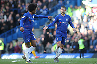 Eden Hazard celebrates scoring Chelsea's opening goal with Willian during Chelsea vs Wolverhampton Wanderers, Premier League Football at Stamford Bridge on 10th March 2019