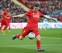 James Milner of Liverpool during the Capital One Cup match between Liverpool and Manchester City at Wembley Stadium, London, England on 28 February 2016. Photo by David Horn / PRiME Media Images.