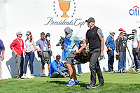 Charl Schwartzel (RSA) departs the first tee during round 4 Singles of the 2017 President's Cup, Liberty National Golf Club, Jersey City, New Jersey, USA. 10/1/2017. <br /> Picture: Golffile | Ken Murray<br /> <br /> All photo usage must carry mandatory copyright credit (&copy; Golffile | Ken Murray)