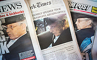 The NY Times, the NY Daily News and the NY Post on Friday, January 23, 2015 all use similar photographs on their front pages reporting on the arrest of longtime New York State Assembly Speaker Sheldon Silver on corruption charges. Silver was charged with five counts and released on $200,000 bail. All three used photos of Silver looking left although looking right material was available. (© Richard B. Levine)