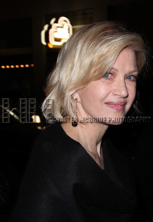 "Diane Sawyer.leaving the Stage Door after the  Opening Night Performance of ""Death Of A Salesman"" at The Barrymore Theatre New York City on 3/15/2012."