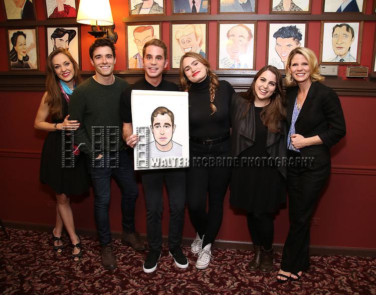 Laura Osnes, Corey Cott, Ben Platt, Kathryn Gallagher, Beanie Feldstein and Kelli O'Hara attends the Ben Platt Sardi's Portrait unveiling at Sardi's on May 30, 2017 in New York City.
