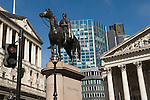Bank of England, City of London Skyline. Royal Exchange building Duke of Wellington Statue, Red Stop Light  Royal Exchange Square. EC2