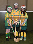 Keela Cosgrove, Dorothea Betz and Ella Healy who took part in the Camogie tournament at Drogheda Leisure Centre. Photo:Colin Bell/pressphotos.ie