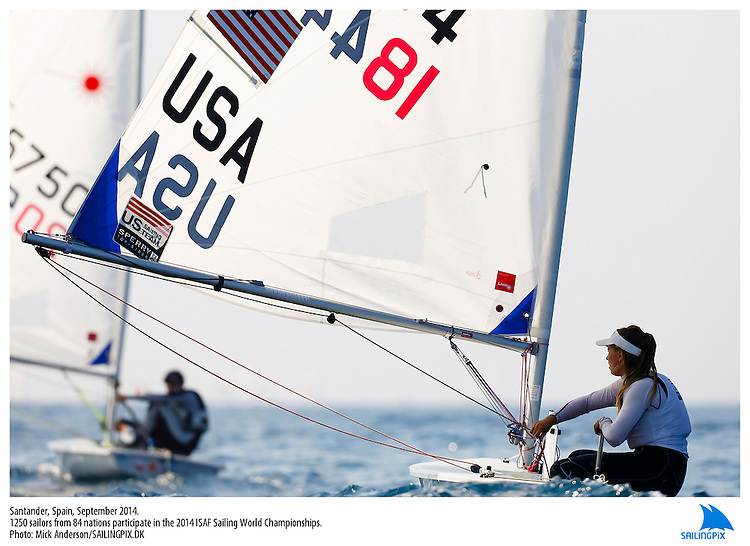 20140912, Santander, Spain: 2014 ISAF SAILING WORLD CHAMPIONSHIPS - More than 1,250 sailors in over 900 boats from 84 nations will compete at the Santander 2014 ISAF Sailing World Championships from 8-21 September 2014. The best sailing talent will be on show and as well as world titles being awarded across ten events 50% of Rio 2016 Olympic Sailing Competition places will be won based on results in Santander. Sailor(s): Laser Radial - USA184454 - Erika REINEKE. Photo: Mick Anderson/SAILINGPIX.DK. Keywords: Sailing, water, sport, ocean, boats, olympic, dinghy, dinghies, crew, team, sail. Filename: SailingWorlds2014_MICK-2705.jpg.