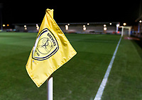 3rd December 2019; Pirelli Stadium, Burton Upon Trent, Staffordshire, England; English League One Football, Burton Albion versus Southend United; A corner flag with the Burton Albion team emblem - Strictly Editorial Use Only. No use with unauthorized audio, video, data, fixture lists, club/league logos or 'live' services. Online in-match use limited to 120 images, no video emulation. No use in betting, games or single club/league/player publications