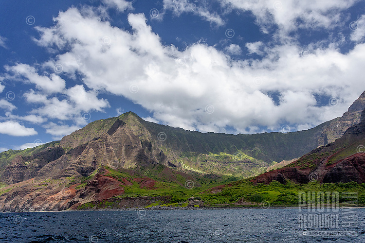 View of Na Pali Coast, Kaua'i, from the water