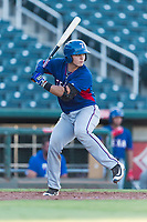 AZL Rangers catcher David Garcia (9) at bat during an Arizona League playoff game against the AZL Indians 1 at Goodyear Ballpark on August 28, 2018 in Goodyear, Arizona. The AZL Rangers defeated the AZL Indians 1 7-4. (Zachary Lucy/Four Seam Images)