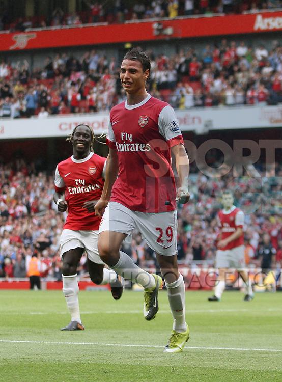 Arsenal's Marouane Chamakh celebrates scoring his sides sixth goal