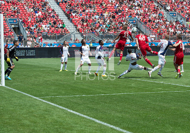 29 June 2013: Toronto FC defender Darren O'Dea #48 tries to head a ball in the last few minutes of stoppage time during an MLS game between Real Salt Lake and Toronto FC at BMO Field in Toronto, Ontario Canada.<br /> Real Salt Lake won 1-0.