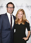 Jon Hamm and Jennifer Westfeldt attends the Off-Broadway opening Night Performance of 'Billy & Ray' at the Vineyard Theatre on October 20, 2014 in New York City.