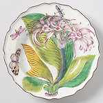 Plate, ca. 1753-1756; Made by Chelsea Porcelain Manufactory (London, England); porcelain with overglaze enameling; H x diam.: 3.5 x 22.9 cm (1 3/8 x 9 in.); Gift of Irwin Untermyer; 1957-11-4; Cooper Hewitt, Smithsonian Design Museum;<br />