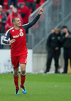 22 October 2011: Toronto FC forward Danny Koevermans #14 celebrates scoring the equalizer during a game between the New England Revolution and Toronto FC at BMO Field in Toronto..The game ended in a 2-2 draw.