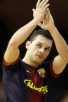 FC Barcelona Alusport's Saad Assis celebrates the victory after Spanish National Futsal League match.November 24,2012. (ALTERPHOTOS/Acero) /NortePhoto