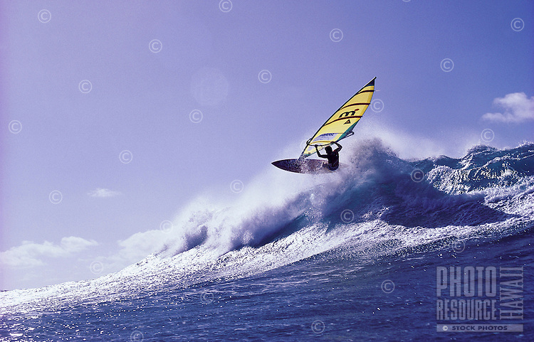 Windsurfing at surf spot called Backyards, on the North Shore of Oahu