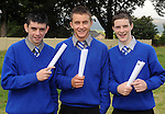 Daniel O'Connell, Jonathan Foley and Sam Fagan  with their Junior Cert results at Presentation Secondary School Milltown  on Wednesday.  Picture: Eamonn Keogh (MacMonagle, Killarney)