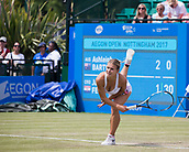 June 14th 2017, Nottingham,  England; WTA Aegon Nottingham Open Tennis Tournament day 5;  Jana Fett of Croatia serving on centre court in her second round match against Ashleigh Barty of Australia