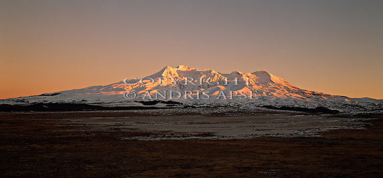 Sunrise on snow covered Mount Ruapehu in the central North Island. New Zealand.