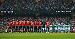 Both sets of players line up for a minutes applause in memory of former England player Ray Wilkins during the premier league match at the Etihad Stadium, Manchester. Picture date 7th April 2018. Picture credit should read: Simon Bellis/Sportimage