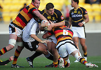 Referee Nick Briant gets caught in a tackle as Dane Coles takes the ball up during the ITM Cup rugby union match between Wellington Lions and Waikato at Westpac Stadium, Wellington, New Zealand on Saturday, 15 September 2012. Photo: Dave Lintott / lintottphoto.co.nz