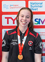 Picture by Allan McKenzie/SWpix.com - 05/08/2017 - Swimming - Swim England National Summer Meet 2017 - Ponds Forge International Sports Centre, Sheffield, England - Tilly Arrand takes bronze in the womens 16yrs 100m backstroke.