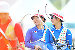(L-R) <br />  Ayano Kato, <br />  Tomomi Sugimoto (JPN), <br /> AUGUST 27, 2018 - Archery : <br /> Women's Recurve Team Bronze Medal Match<br /> at Gelora Bung Karno Archery Field <br /> during the 2018 Jakarta Palembang Asian Games <br /> in Jakarta, Indonesia. <br /> (Photo by Naoki Morita/AFLO SPORT)